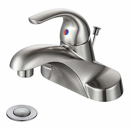 Picture of Bathroom Faucet 1 Handle Low Arc Single Handle 4 inch Centerset Bathroom Sink Faucet with Pop Up Drain Assembly Basin Mixer Tap Brushed Nickel Vanity Faucets