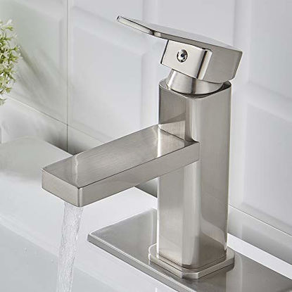 Picture of Brushed Nickel Bathroom Faucet Single Hole,Modern Square Single Handle Bathroom Sink Washbasin Vanity Sink Faucet with Deck